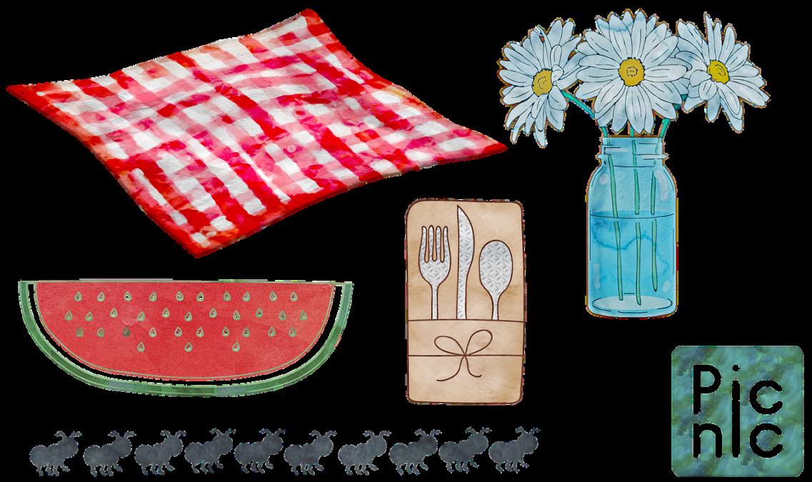 watercolor picnic, food, wicker